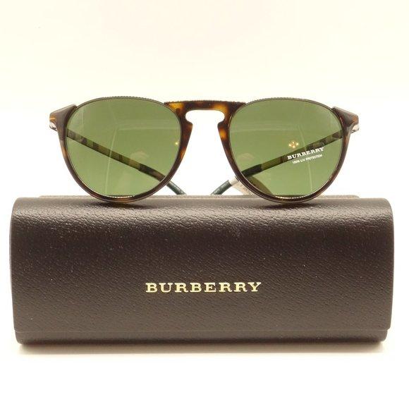 NWT BURBERRY Brown Round Tortoise Metal Sunglasses